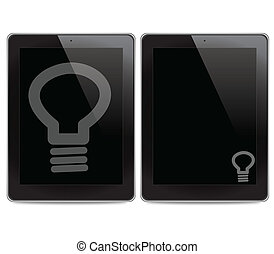 Bulb light icon on tablet computer background