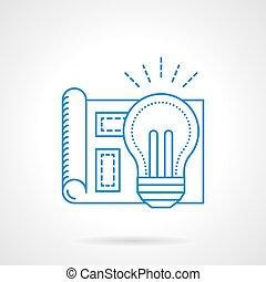 Bulb light idea blue flat line vector icon