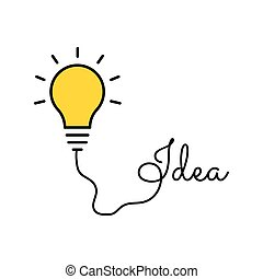 Bulb light idea. concept of big ideas inspiration innovation, invention, effective thinking. Starting the thinking process. Brainstorm concept.