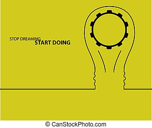 Bulb light idea. concept of big ideas inspiration innovation, invention, effective thinking. text.