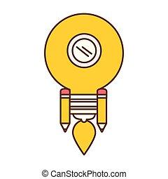 bulb light idea rocket launcher vector illustration design