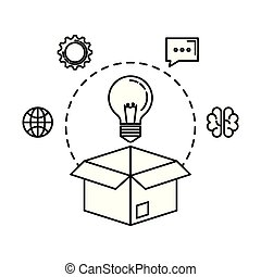 bulb light in box with business icons