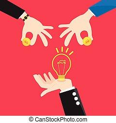 Bulb light in Hand change Money