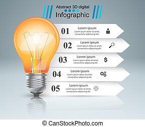 Bulb, light, paper infographic.