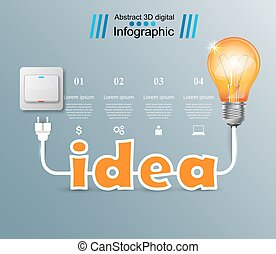 Bulb, Light, switch, on, off, idea infographic
