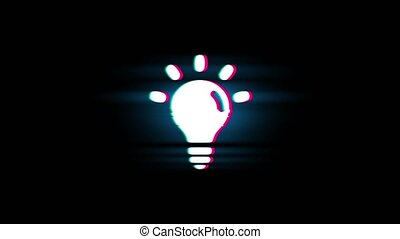Bulb Light Symbol on Glitch Retro Vintage Animation. - Bulb...