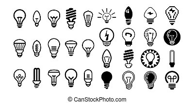 Bulb light vector icon set illustration on white background