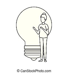 bulb light with business person