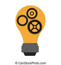 Bulb light with gears symbol