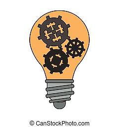 Bulb light with gears