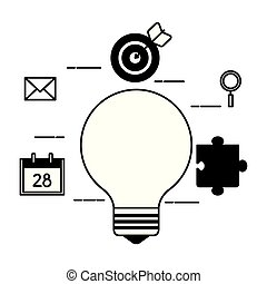 bulb light with set icons