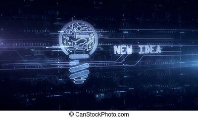 Bulb new idea symbol hologram - Bulb symbol hologram 3d...