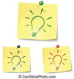 Bulb note - Set of bulb notes on white background