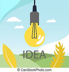 Bulb on the abstract background with idea speech, Concept of big ideas, inspiration, innovation, invention, effective thinking with text. Flat style. Vector illustration