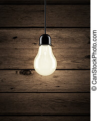 bulb on the wooden background