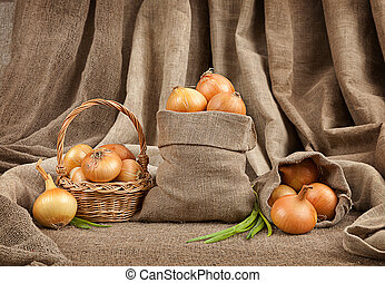 onion in basket and bag