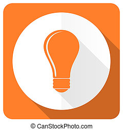 bulb orange flat icon idea sign