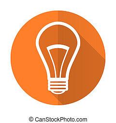 bulb orange flat icon light bulb sign