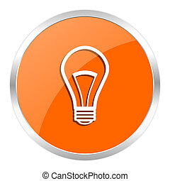 bulb orange glossy icon