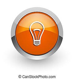 bulb orange glossy web icon
