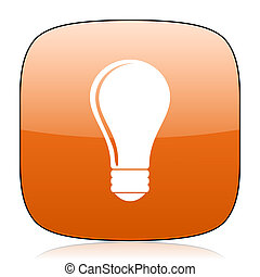 bulb orange square web design glossy icon