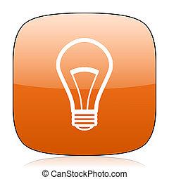 bulb orange square web design glossy icon