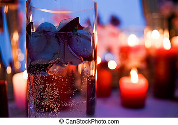 Bulb oxygen glass candle petals event - Bulb of oxygen in a...