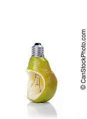 Bulb Pear - Green pear as a bulb over white background