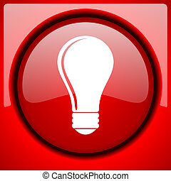bulb red icon plastic glossy button