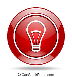 bulb red web glossy round icon