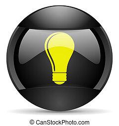 bulb round black web icon on white background