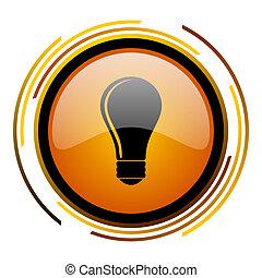 bulb round design orange glossy web icon