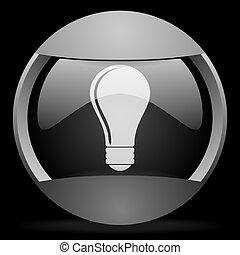 bulb round gray web icon on black background