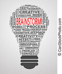 Bulb shape wordcloud word tags brainstorm