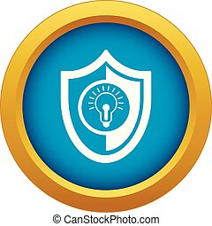 Bulb shield icon blue vector isolated