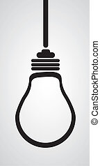 bulb silhouette isolated on white background, vector illustration