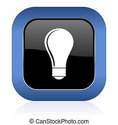 bulb square glossy icon idea sign