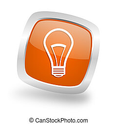 bulb square orange glossy chrome silver metallic web icon