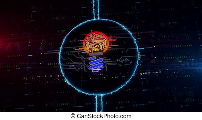 Bulb symbol hologram in electric circle - Bulb symbol...