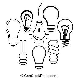 Bulb thin icons