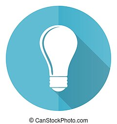 Bulb vector icon, flat design blue round web button isolated on white background