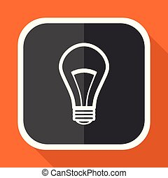Bulb vector icon. Flat design square internet gray button on orange background.