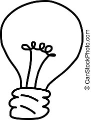 bulb - vector illustration sketch hand drawn with black lines, isolated on white background