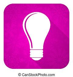 bulb violet flat icon, christmas button, idea sign