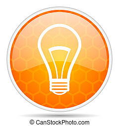 Bulb web icon. Round orange glossy internet button for webdesign.
