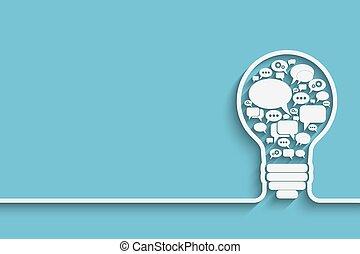 bulb with bubble speech, an idea concept,