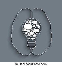 bulb with bubble speech