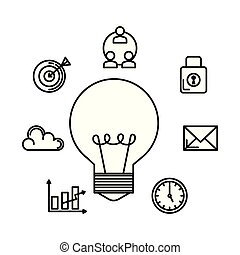 bulb with business set icons
