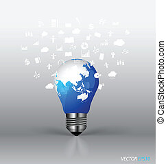 Bulb with cloud of application. Vector illustration.