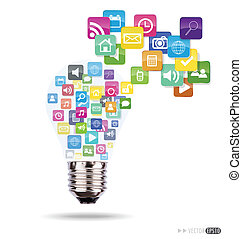 Bulb with cloud of colorful application icons. Vector illustration